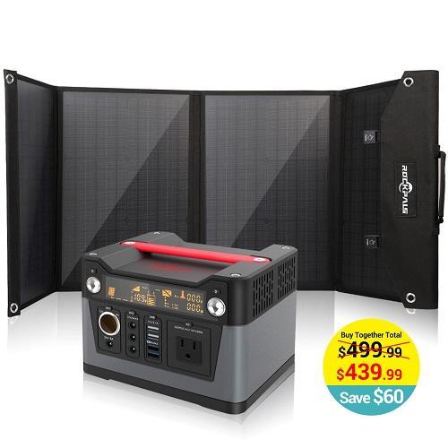 Rockpals 75000mAh 300W Portable Generator + 100W Foldable Solar Panel $439.99