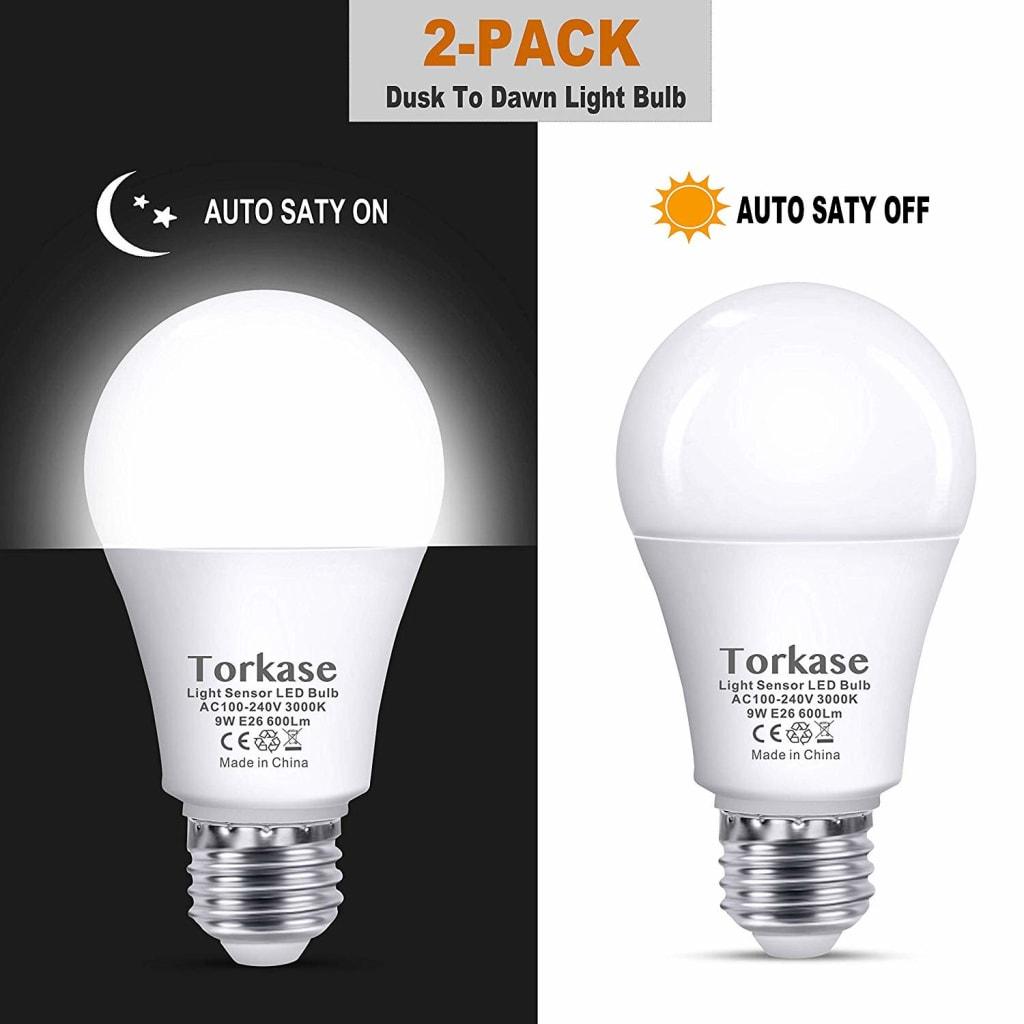 Torkase 9-Watt Dusk-Till-Dawn LED Bulb 2-Pack for $8 + free shipping w/ Prime