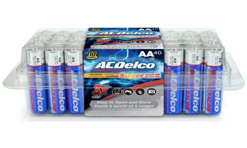 ACDelco AA Super Alkaline Batteries 40-Pack for $8 + free shipping w/Prime